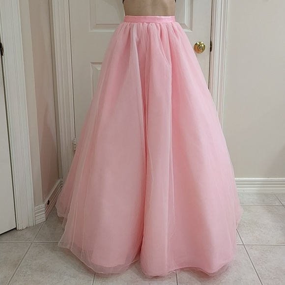 Alfred Angelo Dresses Full Baby Pink Tulle Maxi Ball Gown Skirt Sz ...